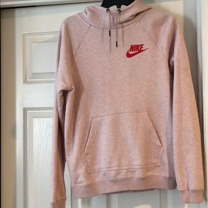 Pink hooded Nike sweatshirt
